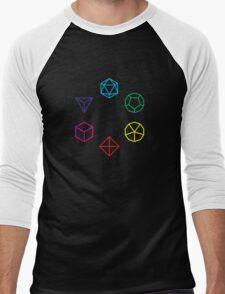 CMYK Rainbow Dice Geometry Men's Baseball ¾ T-Shirt