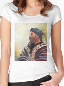 The Watcher Pastel portrait painting Women's Fitted Scoop T-Shirt
