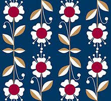 Ornate seamless pattern with the leaves and flowers cute modern by fuzzyfox