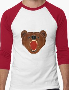 Growling Burr - White Lines Men's Baseball ¾ T-Shirt