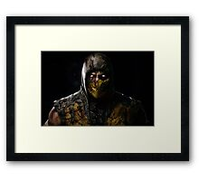 Scorpion Damaged Mortal Kombat X Framed Print