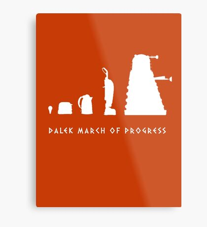 Dalek March of Progress White Metal Print