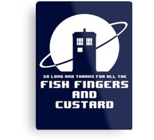 Fish Fingers and Custard White Metal Print