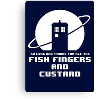 Fish Fingers and Custard White Canvas Print