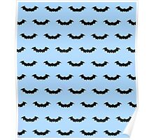 Cute Bats - Blue and Black Poster