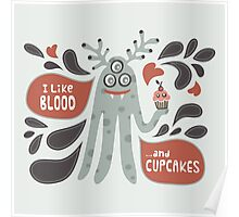 Cute and Creepy Vampire illustration...with a cupcake Poster
