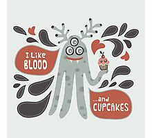 Cute and Creepy Vampire illustration...with a cupcake Photographic Print