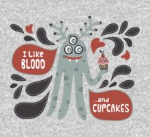 Cute and Creepy Vampire illustration...with a cupcake Baby Tee
