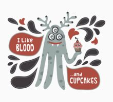 Cute and Creepy Vampire illustration...with a cupcake One Piece - Short Sleeve