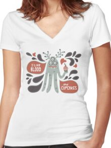 Cute and Creepy Vampire illustration...with a cupcake Women's Fitted V-Neck T-Shirt