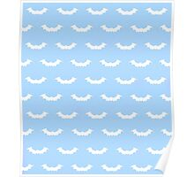 Cute Bats - Blue and White Poster