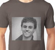 Drawing - Tom Daley handsome smile Unisex T-Shirt