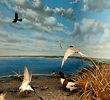 Natural environment diorama - birds flying on the shore of a pond  by Reinvention