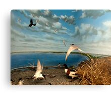 Natural environment diorama - birds flying on the shore of a pond  Canvas Print