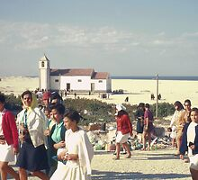 Congregation of Church On The Beach, Costa Nova, North Portugal. by Peter Stephenson