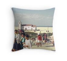 Congregation of Church On The Beach, Costa Nova, North Portugal. Throw Pillow