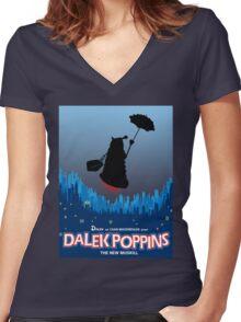 Dalek Poppins  Women's Fitted V-Neck T-Shirt