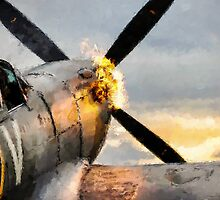 Spitfire FIRING UP - Fantastic Spitfire WWII art - world war 2 art / aviation art by verypeculiar