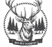 Big Sky Country Deer - Dark print by sofiatalvik