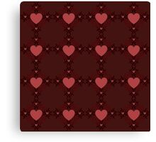 Dark red hearts ornament 3 Canvas Print