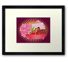 Gift box and roses Framed Print