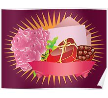Gift box and roses Poster