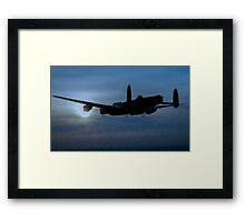 "Avro Lancaster - Lancaster Bomber ""NIGHT RUN"" - ww2 art - aviation art / dam busters Framed Print"