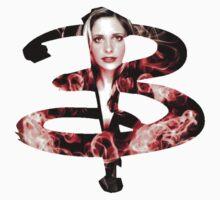 B - Buffy red fire T-Shirt