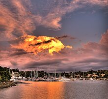 """The Longshot"" - Fire In The Sky - Newport Marina - The HDR Experience by Philip Johnson"