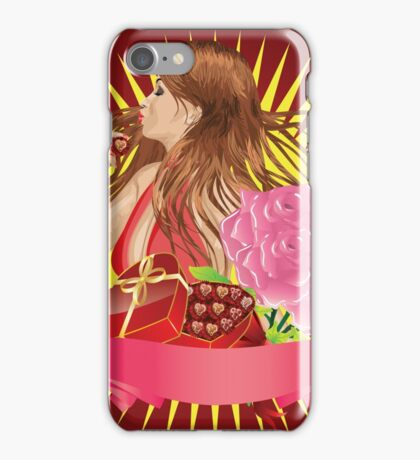 Girl with gift box and ribbon iPhone Case/Skin