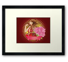 Girl with gift box and ribbon Framed Print