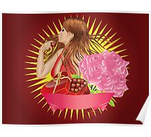 Girl with gift box and ribbon Poster