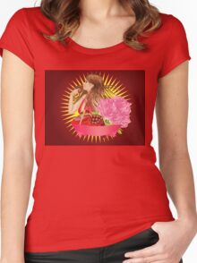 Girl with gift box and ribbon Women's Fitted Scoop T-Shirt