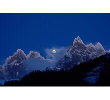 Moonrise over Aiguille du Chamonix Photographic Print