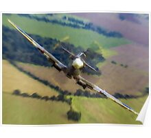 "Spitfire ""Coming UP Fast"" Fantastic  Spitfire WW2 art / aviation / military Poster"