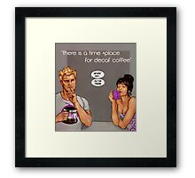 time and place for decaf Framed Print