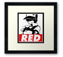Red Obey Framed Print