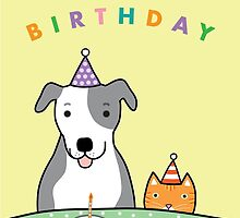 Happy Birthday Dog and Cat by dreamingdogs