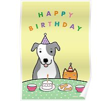 Happy Birthday Dog and Cat Poster