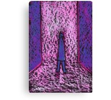 A man in a passageway or a small man standing on a big chair Canvas Print