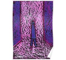 A man in a passageway or a small man standing on a big chair Poster
