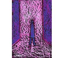 A man in a passageway or a small man standing on a big chair Photographic Print