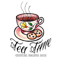 Tea Time Saucer and Cup Tattoo Design Photographic Print