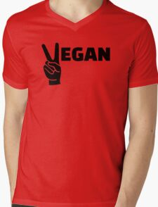 Vegan peace Mens V-Neck T-Shirt