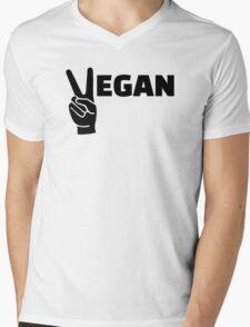 Vegan peace Mens V-Neck T-Shirt
