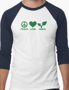 Peace love vegan Men's Baseball ¾ T-Shirt