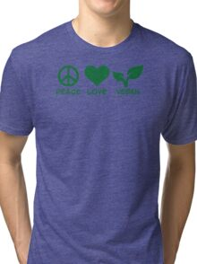 Peace love vegan Tri-blend T-Shirt