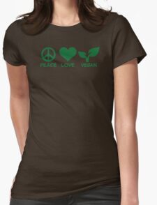Peace love vegan Womens Fitted T-Shirt