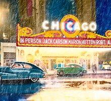 Rainy Night Outside The Chicago Theatre in 1949 by Mark Tisdale
