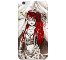 Red hair womam sexy cabaret fan peacock feather iPhone Case/Skin